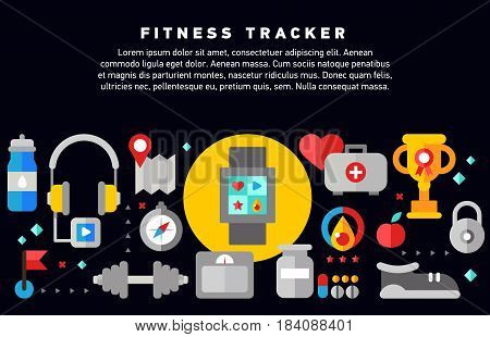 Fitness tracker doodle design concept set with healthy lifestyle regular physical training and activity monitoring icons, sports gadgets, fitness training program vector illustration