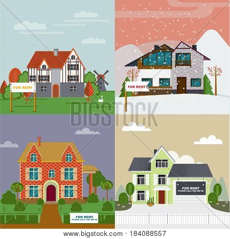 Colorful villas and cottages flat set for rent with different architecture and exterior vector illustration