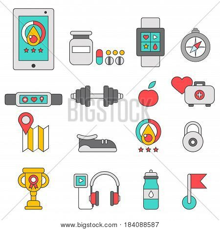 Fitness tracker flat color icons with modern digital devices for health control during physical activity isolated vector illustration