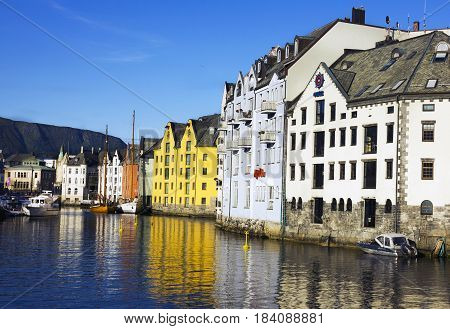 Alesund, Norway - April 5, 2017: Seaview on center of town Alesund in Norway.