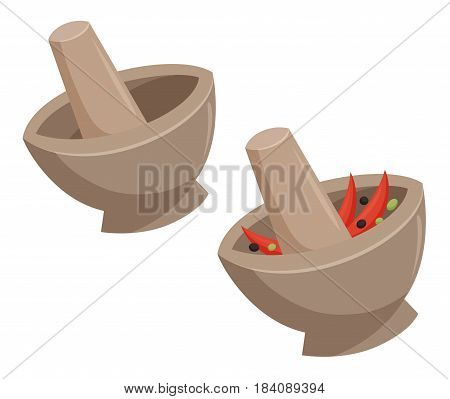 Mortar with grind the curry paste or empty. Traditional thailand dish. Cooking process vector illustration. Kitchenware and utensils isolated on white. Tasty food. Mix seasonings or herbs