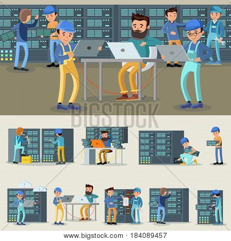 Datacenter professional workers collection with engineers repairing and fixing problems in cloud storage and server room vector illustration