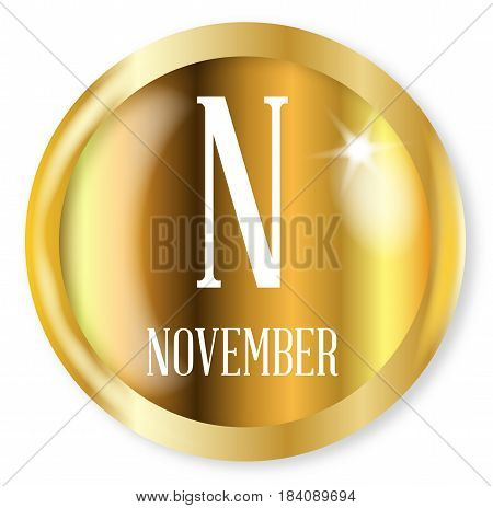 N for November button from the NATO phonetic alphabet with a gold metal circular border over a white background