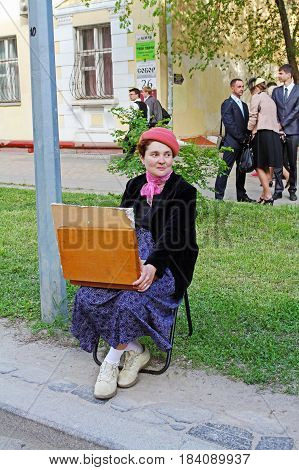Volgograd Russia - May 08 2014: Artist in old-fashioned clothes of the forties takes part in Victory day event in Volgograd