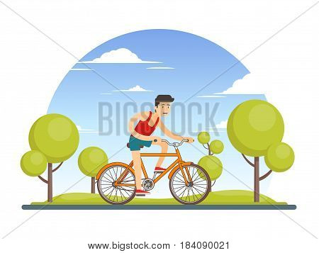 Colorful healthy sport lifestyle concept with man riding bicycle in city park vector illustration