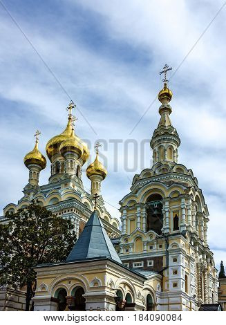 Church cupolas in Yalta Crimea Russia. Alexander Nevsky Orthodox Cathedral.