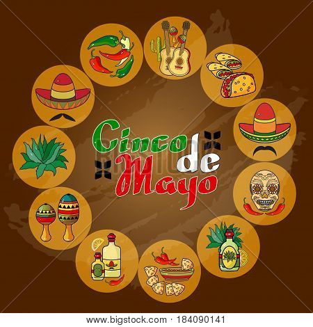 Vector illustration of Cinco ge Mayo Day.  Cartoon  Sombrero, guitar, pepper, cactus and skull.  5 May greeting card.