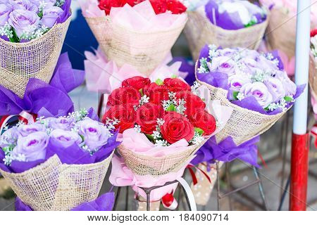 Artificial bouquet of flowers. Flowers made of fabric
