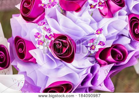 Artificial bouquet of flowers., Flowers made of fabric