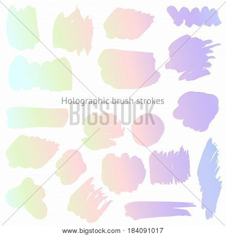 Vector set of holographic brush strokes. Imitation of a holographic surface for design and surface design creative design projects covers packages prints and other