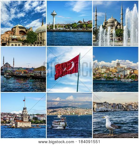 Collage of Istanbul travel landmarks and architecture, Turkey