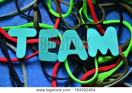 team word on a  abstract colorful background