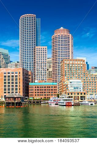 Boston skyscrapers in financial district, view from harbor on downtown, Massachusetts, USA