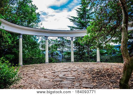 Colonnade in the botanical garden of Yalta