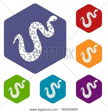 Dotted snake icons set hexagon isolated vector illustration
