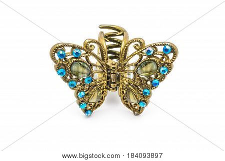 Closeup To Old Luxury Decorated Golden Butterfly Hair Clip, Isolated