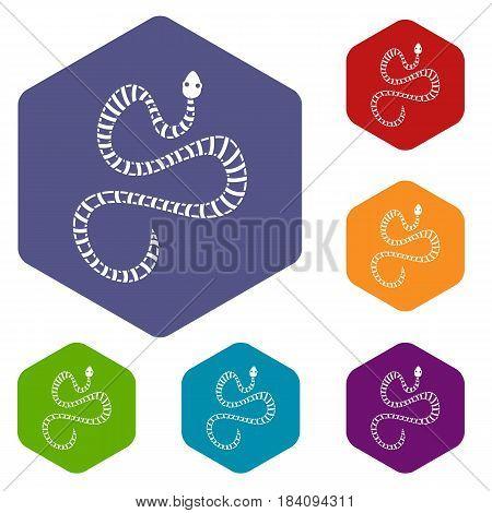 White striped snake icons set hexagon isolated vector illustration