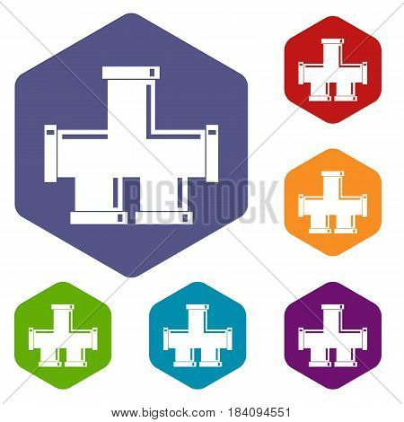Drain system icons set hexagon isolated vector illustration