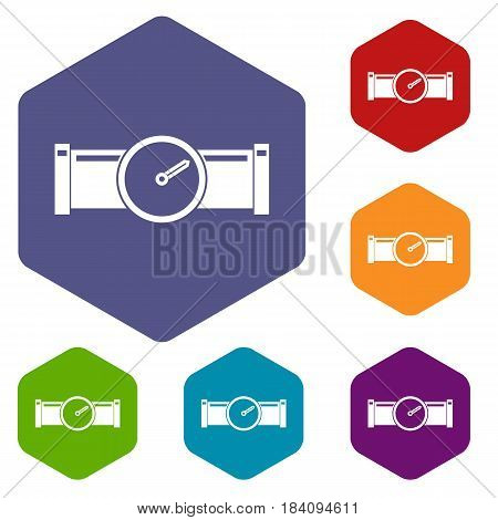 Instrument measures the pressure in the pipe icons set hexagon isolated vector illustration