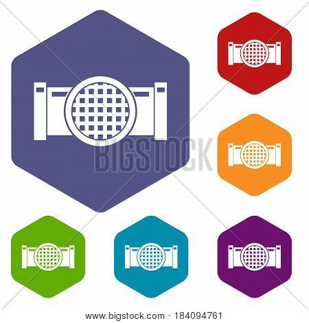 Drain pipe icons set hexagon isolated vector illustration