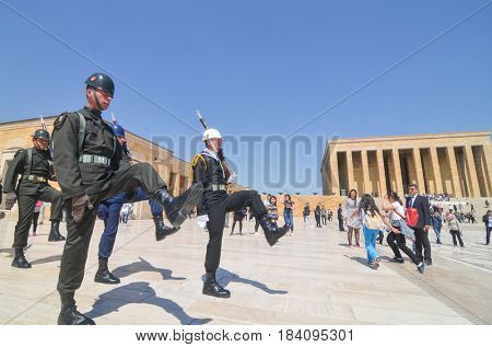 ANKARA, TURKEY - APRIL 26, 2017: The guard shift ceremony in Anitkabir, Mausoleum of Ataturk - Ankara, Turkey