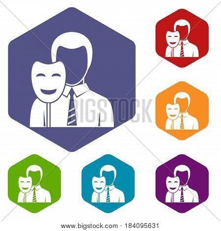 Businessman holding smile mask icons set hexagon isolated vector illustration