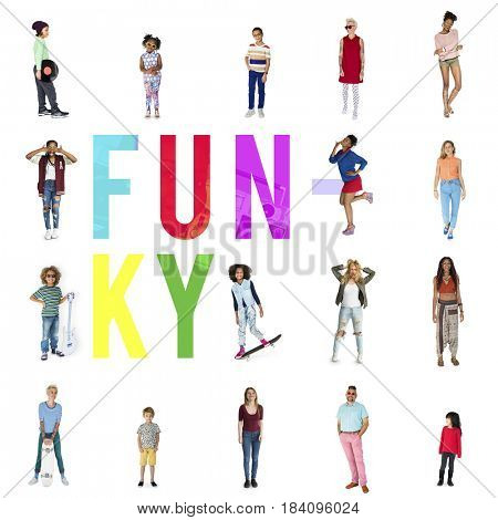 Diverse of Funky People Lifestyle Studio Isolatedr