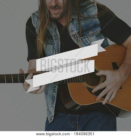 Guitarist Playing Music Banner Frame