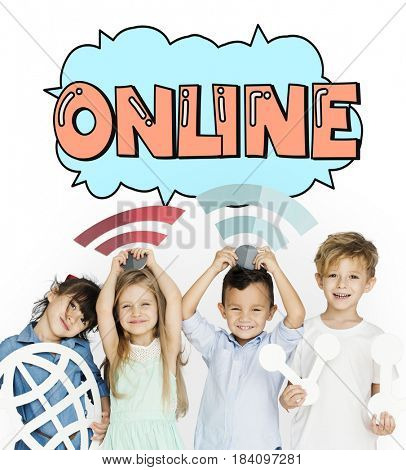 Children holding network graphic overlay banner