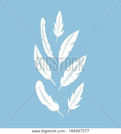feather icons set illustration art design with blue background