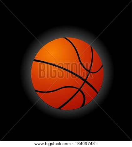 Basketball illustration art design on black background