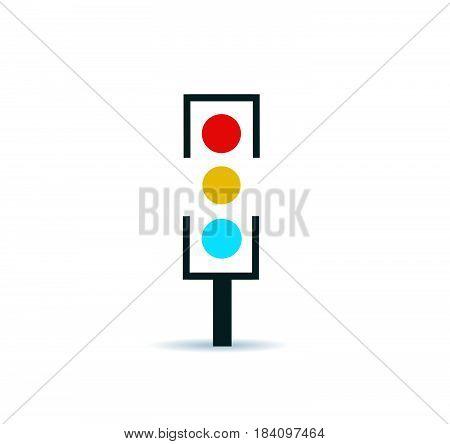 Traffic light vector illustration on white background