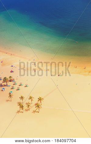 aerial view of Las Teresitas beach, Tenerifer, retro toned