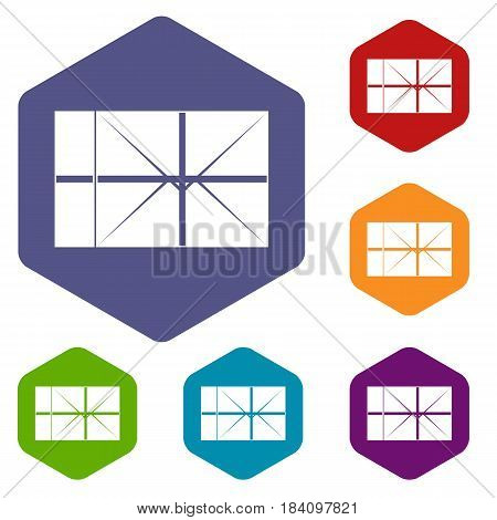 Postal parcel icons set hexagon isolated vector illustration