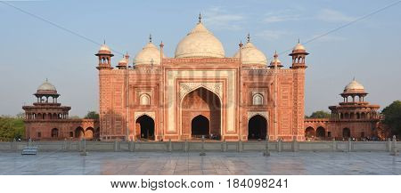 Agra, India - February 19, 2017 As Mohammed said; wherever the time of prayer overtakes you pray; that is a mosque... and according to the law of Islam all tombs and mausoleums had to have an adjoining place of prayer.