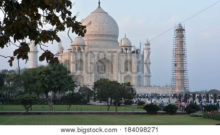 Agra, India - February 19, 2017 The Taj Mahal incorporates and expands on design traditions of Persian and earlier Mughal architecture