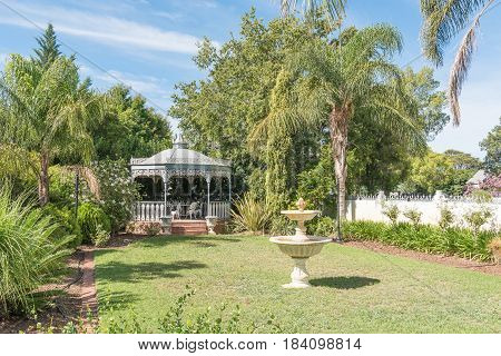 ROBERTSON SOUTH AFRICA - MARCH 26 2017: A gazebo at an historic victorian house in Robertson a town on the scenic Route 62 in the Western Cape Province