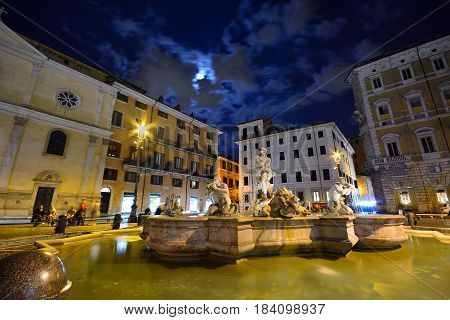 Fountain Of The Moor In Piazza Navona .