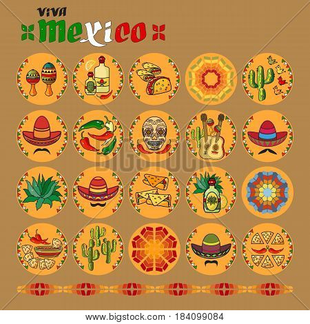 Viva Mexico icon. Set of cute various mexican icons. Flat design vector illustration. Cartoon  Sombrero, guitar, pepper, cactus, maraca, tequila and skull.