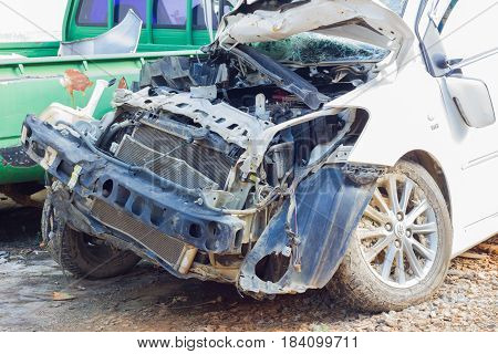 CHIANG RAI THAILAND - NOVEMBER 13 : close-up broken white car from accident on November 13 2014 in Chiang rai Thailand.