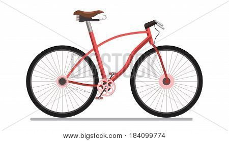Bicycle sport or urban pedal wheel transport vehicle. Vector isolated flat icon on white background