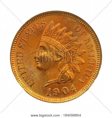 1904 Indian Head Cent Small Cents Bronze Composite Penny
