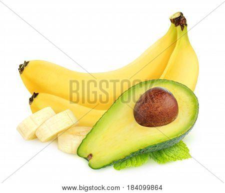 Isolated Avocado And Banana Fruits