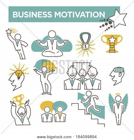 Business motivation and encouragement conceptual icons. Vector flat symbols set of business man and profit wealth, gold cup award and career promotion achievement or brain charge and manager ideas