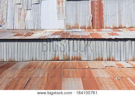 background of rusty galvanized iron in Thailand