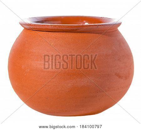 Empty Ceramic Pot Is Isolated On White Background, Close Up