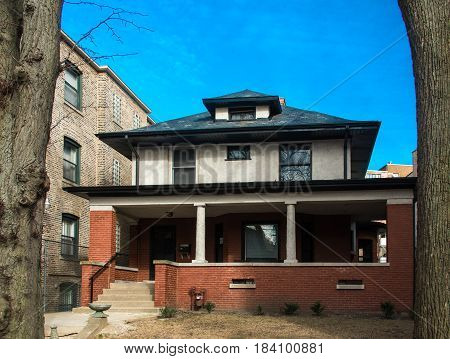 Chicago single family house between two trees