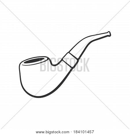 Vector illustration. Hand drawn doodle of hipster retro smoking pipe. Vintage tobacco pipe. Cartoon sketch. Decoration for greeting cards, posters, emblems, wallpapers