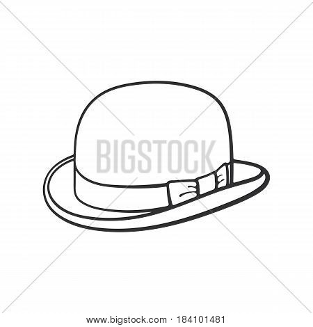 Vector illustration. Hand drawn doodle of retro bowler hat. Vintage elegant hat. Cartoon sketch. Decoration for greeting cards, posters, emblems, wallpapers