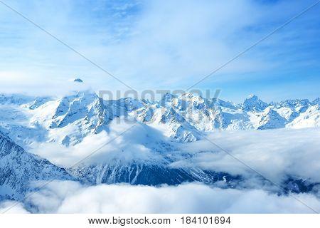 Beautiful Landscape Of Mountain Dombaj, Russia,  Close Up